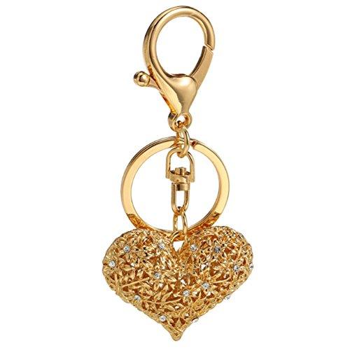Fashion Metal Imitation Diamond Heart-shaped Handbag Backpack Wallet Keychain Car Key Ring Gift Sets for Girls Women (Dark ()