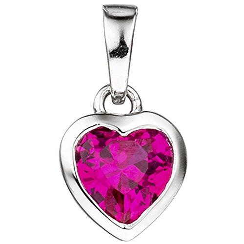 Jobo Niños niña Juego de joyas Corazón Rosa Rosa Plata 925con Circonita con cadena 42cm