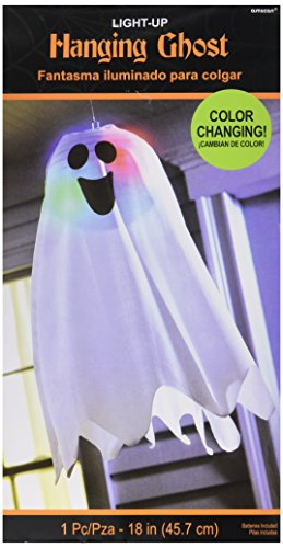 LED Light Up Friendly Ghost Halloween Trick or Treat Party Hanging Decoration, Fabric, 18