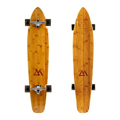 Magneto 44 inch Kicktail Cruiser Longboard Skateboard | Bamboo and Hard Maple Deck | Made for Adults, Teens, and Kids ... (Black) (Slayer Skateboard Deck)