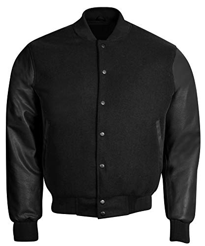 Retro Wool Jacket - Varsity Letterman Baseball Bomber Retro Vintage Jacket Black Wool Black Genuine Leather Sleeves (L)