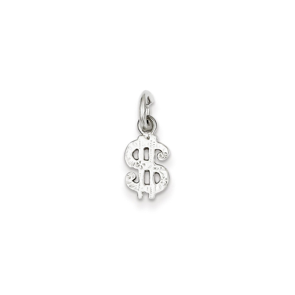 16-20 Mireval Sterling Silver Dollar Sign Charm on a Sterling Silver Chain Necklace