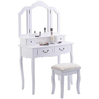 Amazon Com Tri Folding Mirror White Wood Vanity Set