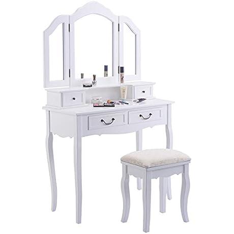 Tri Folding Mirror White Wood Vanity Set Makeup Table Dressing 4 Drawers Stool