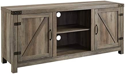 41MRndMl ZL. AC Walker Edison Georgetown Modern Farmhouse Double Barn Door TV Stand for TVs up to 65 Inches, 58 Inch, Grey    Include our TV stand in your living room to give the area a charming, country feel. Features concealed storage space behind the barn styled side doors with adjustable shelving to fit your media and accessories, while having a mix of rustic and modern farmhouse style. This entertainment center is made of durable, high-grade MDF and can support most TVs up to 65-inches. As a storage console, it will keep your living room looking neat while also giving it a homespun feel.