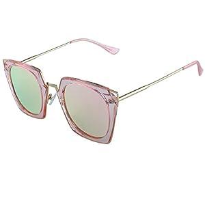 Duco Polarized Square Mod Sunglasses Cat Eye High Pointed Rimmed Fashion Eyewear Geometric Polarized Sunglasses For Women W001(Pink Frame Pink Lens)