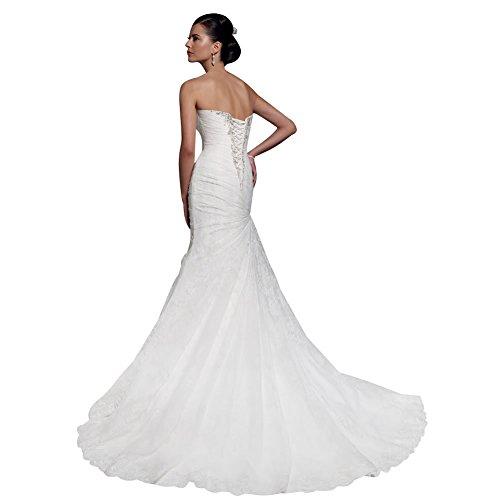 George Bride Mermaid traegerlose satén Vestidos de novia boda Vestidos con perlas mieder Weiß