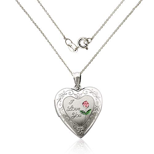 ilver I Love You Heart Locket Necklace with 18