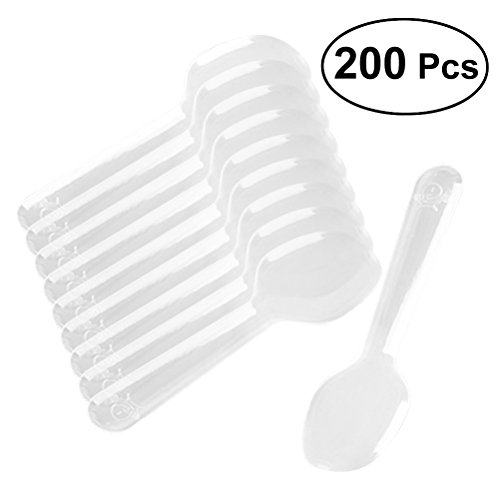 ROSENICE Disposable Spoons 200pcs Mini Clear Plastic Flatware Spoons for Jelly Ice Cream Dessert Appetizer ()