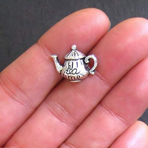 8 Tea Pot Charms Antique Silver Tone with The Word Tea Engraved - SC514