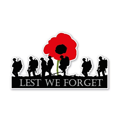 Poppy Flower Decal Remembrance Day Sticker Laptop Sticker Fridge premiumstickers Lest We Forget Army Flag Small - 5x5cm Window Car