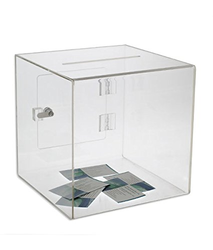 Source One Premium Acrylic Cube Donation Box with Deluxe Rear Open Door and Cam Lock Suggestion Box (8 Inch, Clear) ()