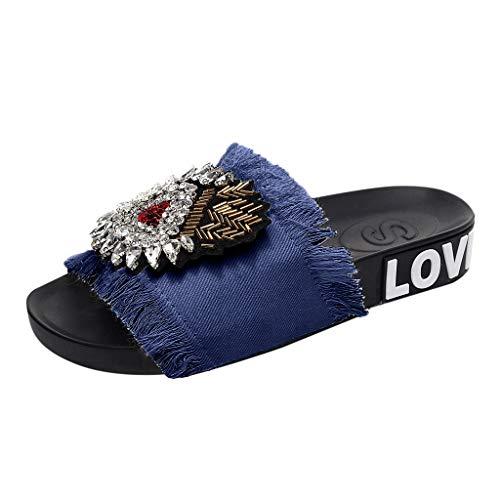 Women's Slides Sandals Denim Fringe Platform Beach Casual Comfort Slippers,FAPIZI Fashion Flat Outdoor Shoes
