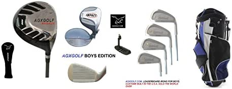 AGXGOLF Boys Right Hand Tour Eagle Combo Starter Golf Club Set w460cc Driver, Stand Bag Free Putter Tween or Teen Lengths, Built in The U.S.A.