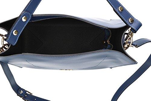 Borsa donna a spalla con tracolla PIERRE CARDIN blu pelle MADE IN ITALY VN1109