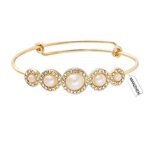 MANZHEN Expandable Adjustable Wire Bangle Bracelets with Rhinestone Pearl Bridesmaid Gift