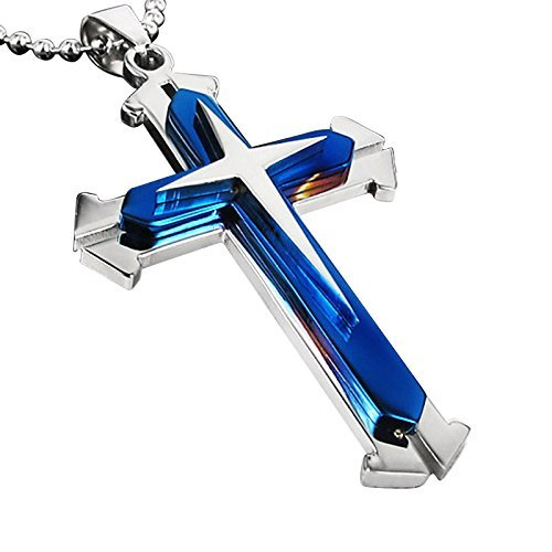 Stainless Steel Cross Pendant Men's Necklace Chain (Blue)