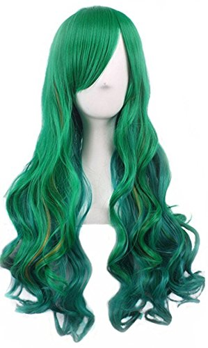 Long Green Curly Wig