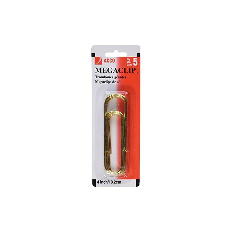 Acco Mega Clip Paper Clips, Gold, 5 Coun