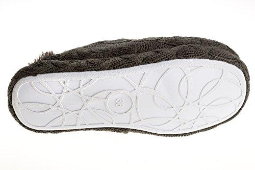 gibra®–Pantuflas para mujer con suela blanca, forrado, color gris oscuro, talla 36–
