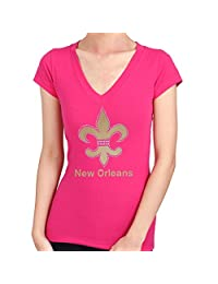 FLEUR DE LIS New Orleans Foil Print Rhinestone Stud Women's T-Shirts