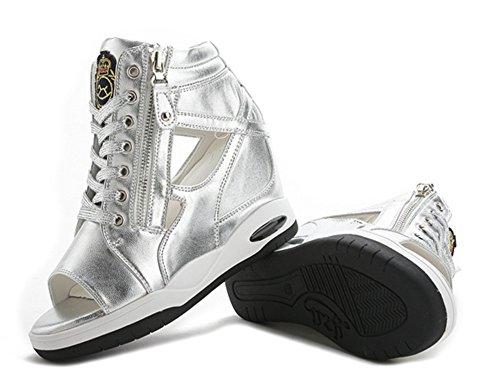 Bout Sandales Casual Lacets Ouvert Baskets Eclair Toile PU Argent Fermeture Femme Cuir wealsex Compensées Chaussures Eté Jeans pzTSC4qw