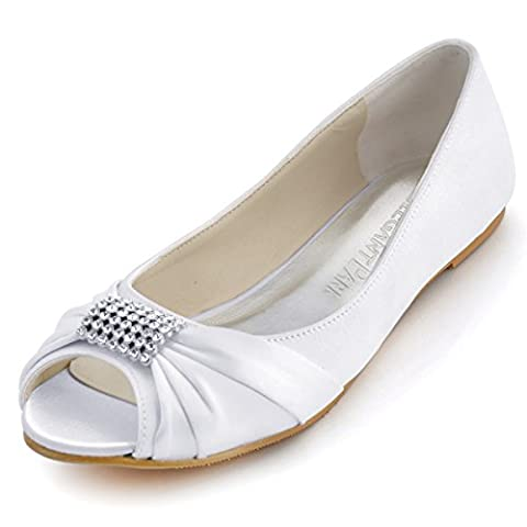ElegantPark EP2053 Women Peep Toe Rhinestones Comfort Flats Pleated Satin Wedding Bridal Shoes White US 12