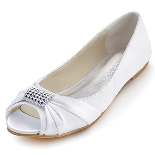 ElegantPark EP2053 Women Peep Toe Rhinestones Comfort Flats Pleated Satin Wedding Bridal Shoes White US 9 White Flat Heel
