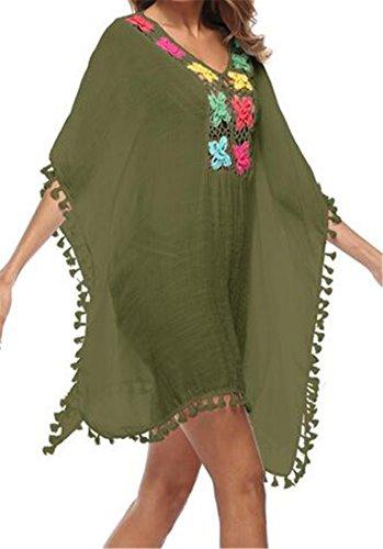 Manica Vestito Cromoncent Nappe Crochet Di collo V Verde Coprire Donne Corta Estate Delle Militare SqfqdwZa