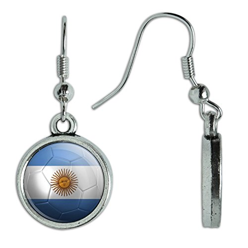 Novelty Dangling Drop Charm Earrings Soccer Futbol Football Country Flag A-I - Argentina Flag Soccer Ball