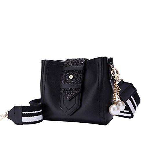 Nero A Banda Negro Vogue Nero Voga Ancha Donna Bolsa Satchel 19x20x12cm 19x20x12cm Bauletto Mujer negro Sjmmbb Larga wOvREqZv
