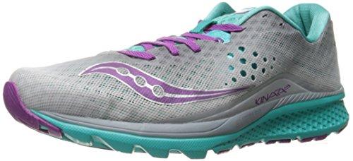 Saucony Women's Kinvara 8 Running Shoe, Grey/Teal/Purple, 6.5 M US