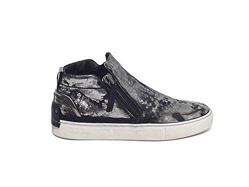 Crime donna, 2536OA, sneakers pelle laminata piombo A6102