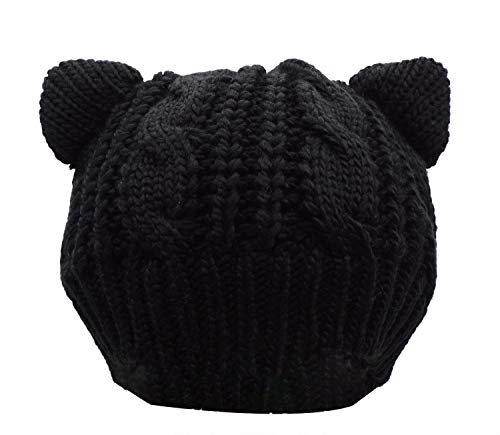 Bellady Women's Hat Cat Ear Crochet Braided Knit Caps,Black]()