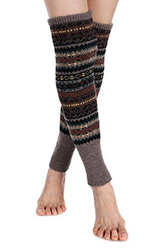 Santwo Women Knee High Socks Winter Bohemian Boot Cuffs Knit Crochet Leg Warmers (Khaki) ()