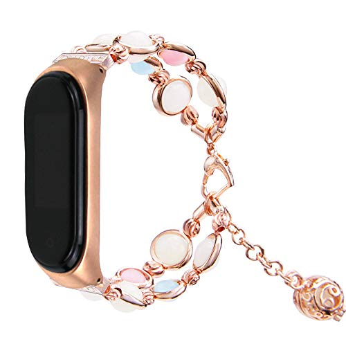 Shan-S for Xiaomi Mi Band 4 Adjustable Handmade Clasp Strap Night Luminous Pearl Bracelet Jewellery Pendant Elastic Beads for Xiaomi Mi Band 4 Smart Fitness Tracker,Women & Girl Gift by Shan-S