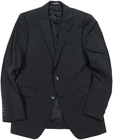 【COMME CA MEN】コムサメン 「ポリスト」ピンストライプ2Bテーラードジャケット 黒 size 50