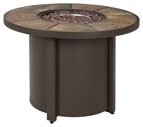 Ashley Furniture Signature Design – Predmore Outdoor Patio Fire Pit Table – Modern Style – Lava Rock with Stainless Steel Burner – Propane or Natural Gas – Round – Brown with Slate Top