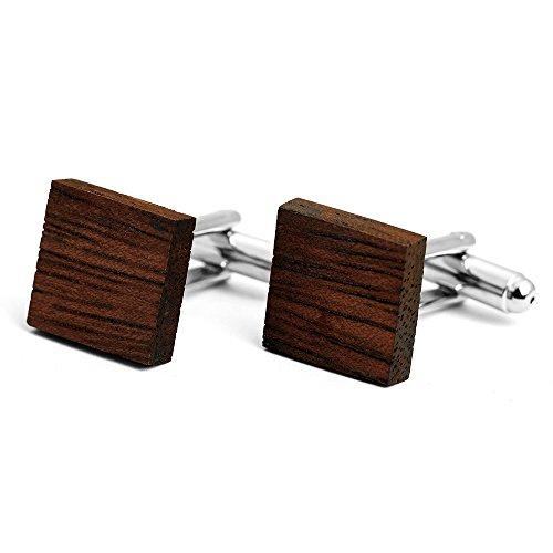 (2017 New Novelty Wood Design Cufflinks Square&Round Brown Mens Shirt Cufflinks Wedding Gift (153738))