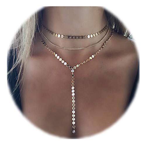 Zealmer Shoopic Mulitlayer Coin Choker Necklace Drop Long Y Chain Necklaces Gold for Women