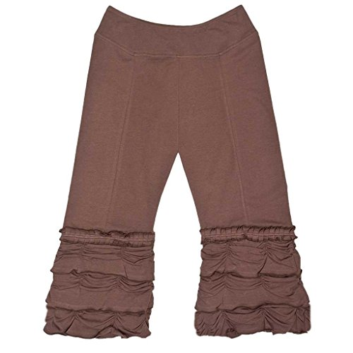 Eco Friendly Sportswear - EcoGirl Organic Cotton 3/4 Length San Francisco Ruffle Pants - EG43 (Brown, Small)