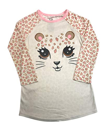 (Long Sleeved Fleece Girls Nightgown Pajamas with Panda, Unicorn, and More Styles (Large (10/12), Girly)