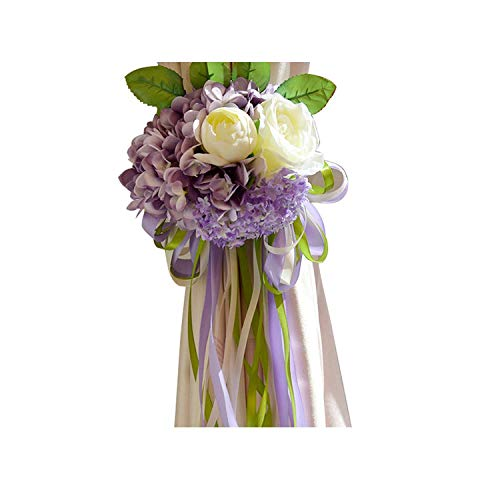 Sweet-Candy artifical flowers Silk Artificial Hydrangea Flower Ball Mini Red Rose White Peony Wedding Home Party Curtain Decoration Curtain Flower,Purple ()
