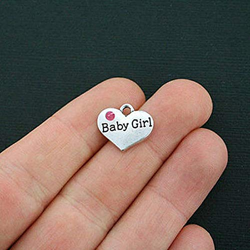 4 Baby Girl Heart Charms Antique Silver Tone 2 Sided for Pendant Bracelet DIY Jewelry Making