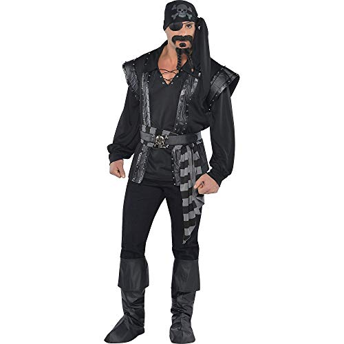 AMSCAN Dark Sea Scoundrel Pirate Halloween Costume for Men, Standard, with Included Accessories -