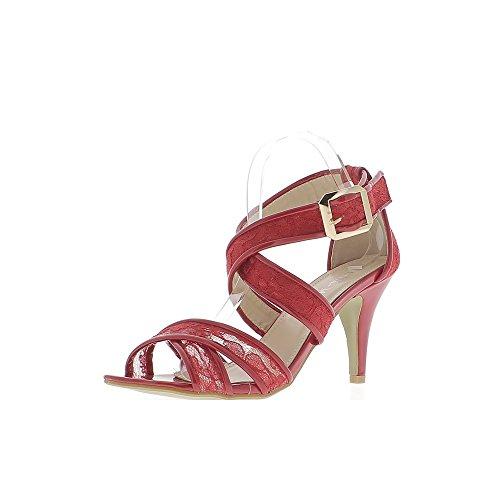 Encaje de tacón de sandalias grande rojo tamaño 9cm