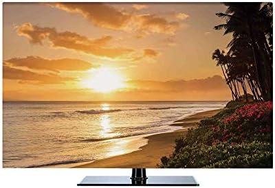 ディスプレイカバー モニター 55インチのテレビに適用 ガーデン用 屋内用 防塵 多機能 屋内 おしゃれ ハワイアンデコレーション 暖かいマウイ島のカアナパリビーチの砂浜の熱帯の夕日