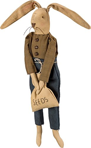 Primitives By Kathy Sitting Bunny Holding Seed Bag 6 Inches x 17 Inches x 5 Inches Decorative Signs