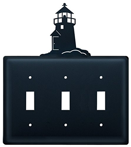 Lighthouse Iron Switchplate (Iron Lighthouse Triple Switch Cover - Black Metal)