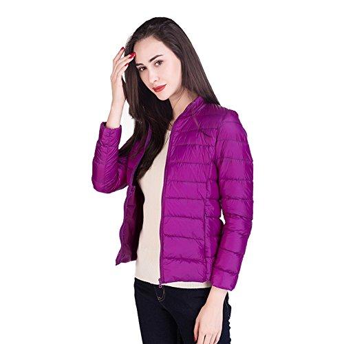 Chaqueta Capa Color Embalable Disponible Del Collar Ligero Moda 17 Soporte Oscuro Santimon Púrpura Mujers Abajo gwq551